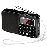 SW/FM/Am / MP3 / USB/SD/TF Radio portátil, Radio Digital al Aire Libre Recargable con Altavoz, botón Grande y Pantalla Grande, almacena Estaciones automáticamente (Color : Black)