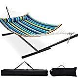 Zupapa 12 Feet Steel Stand with Quilted Curved Bar Hammock Combo 450lbs Capacity, Polyester Pad and Pillow for Indoor Outdoor Patio Deck Yard Use, 2 Storage Bags Included(Blue Green Stripes)