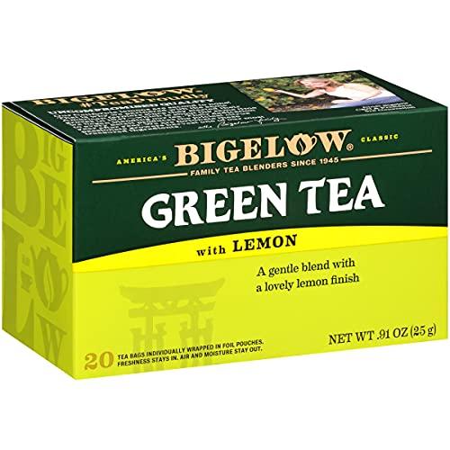 Bigelow Green Tea with Caffeinated Lemon Tea Bags 20-Count Box - Pack of 6