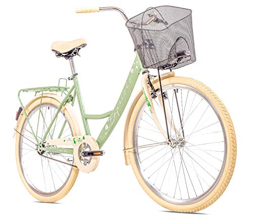 breluxx® 26 Zoll Damenfahrrad Paris Lady, 1 Gang, Rücktrittbremse, Citybike mit Korb + Beleuchtung, Retro Bike, olivgrün - Modell 2020