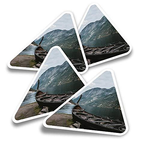 Pegatinas triangulares de vinilo (juego de 4) – Old Viking Boat Noruega Paisaje Divertido Calcomanías para ordenadores portátiles, tabletas, equipaje, reserva de chatarra, neveras #16288