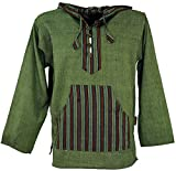GURU SHOP Yoga Hemd, Goa Hemd, Patchwork Sweatshirt, Leichter Freizeit Hoodie, Herren, Olive, Baumwolle, Size:M, Hemden Alternative Bekleidung