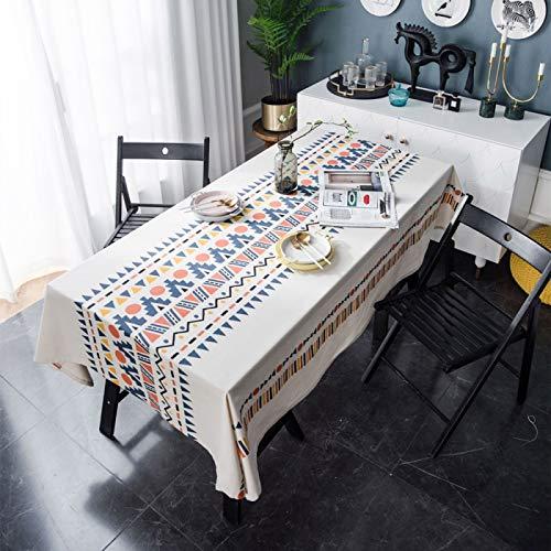 PhantasyIsland.com Mantel Mesa Rectangular Tela Impermeable Algodon Lino con Borlas Empalmado Table Cloth Rectangle para Mesa de Comedor Cocido