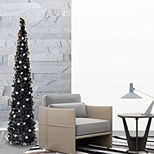 Fonder Mols 5ft Collapsible Artificial Halloween Christmas Tree, Pop Up Small Thin Black Tinsel Coastal Pencil Xmas Tree for Holiday Carnival Party Decorations Indoor Outdoor