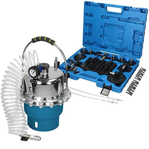 ECD Germany Druckluft Bremsenentlüfter Bremsenentlüftungsgerät Bremsen Entlüftungsgerät 5L KFZ Profi Gerät Werkzeug Adapter Set