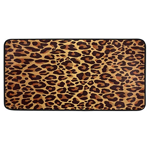 ALAZA Animal Leopard Print Non Slip Kitchen Floor Mat Kitchen Rug for Entryway Hallway Bathroom Living Room Bedroom 39 x 20 inches(1.7' x 3.3')