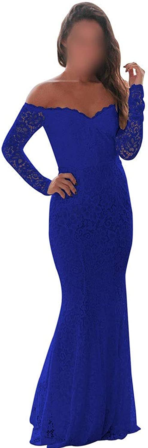 Carriemeow Women's Sexy Off Shoulder Long Sleeve Lace Bodycon Dress Long Maxi Dress Casual Skirt (color   bluee, Size   M)