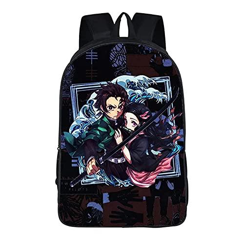 Demon Slayer - Mochila de colegio para niños y niñas, bolsa de hombro impermeable y mochilas de viaje grandes, 16 pulgadas para ordenador portátil anime fans regalos., 7 (Reino Unido), 16',