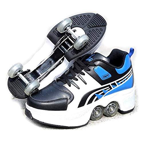 NOBRAND Vervormde Wiel Roller 2 In 1 Schoenen Schaatsen Multifunctionele Verstelbare Onzichtbare Automatische Walk Pulley Skates Dubbele Rij Volwassen Kinderen Sport Spelletjes