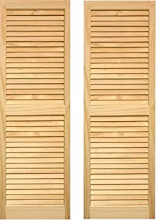LTL Home Products SHL39 Exterior Solid Wood Louvered Window Shutters, 15