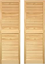 LTL Home Products SHL43 Exterior Solid Wood Louvered Window Shutters, 15