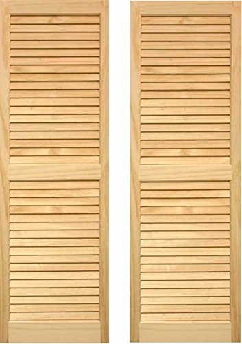"LTL Home Products SHL55 Exterior Solid Wood Louvered Window Shutters, 15"" x 55"", Unfinished Pine"