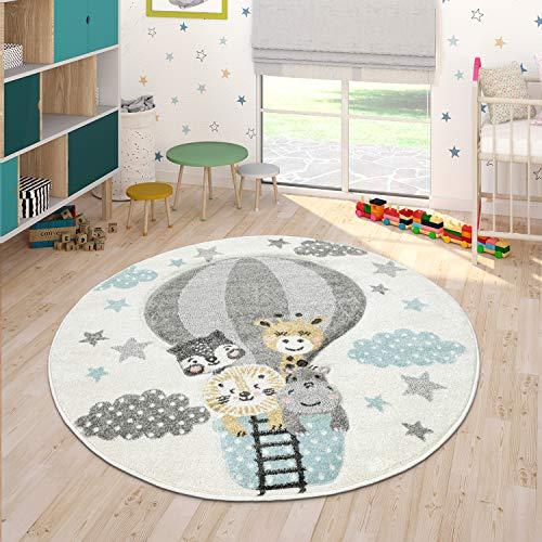 Grazioso Tappeto per la Cameretta dei Bambini Mongolfiera Nuvole Allegri Animali in Crema Pastello, Dimensione:Ø 120 cm Tondo