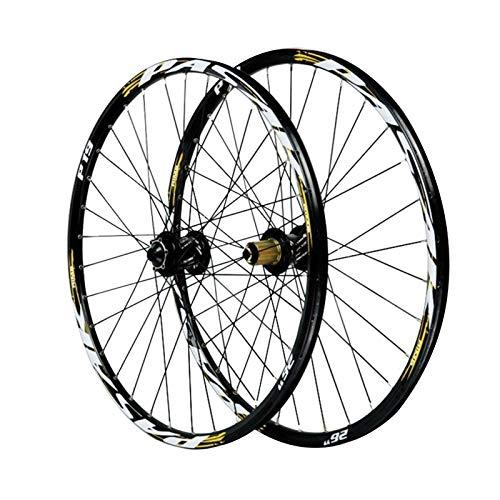 CHICTI 26/27.5/29in Fahrrad Laufrad,Aluminiumlegierung Doppelwandige MTB-Felge Vorne 2 Hinten 4 Lager Scheibenbremse 12/15MM Laufwelle Draußen (Color : Yellow, Size : 29in/20mmaxis)