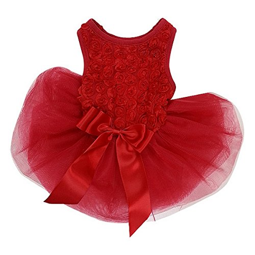Kirei Sui Rosettes Dog Dress L Red (for Small Puppy)