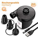 AirExpect Electric Air Pump, Portable Air Compressor Pump for Inflatable Air Mattress Bed, Swimming Ring, Inflatable Cushion, Boat, Couch, Pool Raft, Toys, AC Inflator/Deflator with 3 Nozzles