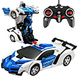 Remote Control Car, Rc Transform Car Robot Toy for Kids - 1:18 Scale 2.4G One Button Transformation & 360 Speed Drifting Transforming Stunt Race Vehicle Car Toys Gifts (A)