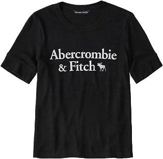 [Abercrombie & Fitch(アバクロンビーアンドフィッチ)] アバクロ レディース 半袖 ニット Tシャツ カットソー メタリック ロゴ ブラック [並行輸入品]