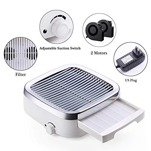 Makartt Nail Dust Collector Machine 60W, Nail Dust Machine Filter Fan for Nail Drills Acrylic Nails and Poly Nail Extention Gel MK200