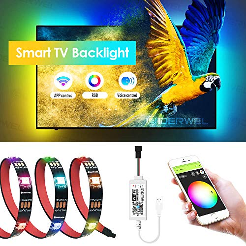 GIDERWEL Smart TV Backlights with WiFi LED Controller,6.56ft 5V USB Powered DreamColor RGB Addressable LED Strip Light Work with Alexa and Google Assistant APP/Voice Controlled for 40-60'' HDTV/PC,etc