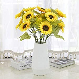 Silk Flower Arrangements RRSHUN 6 Pcs Artificial Flowers Babys Breath Sunflower Flower - Real Touch Fake Flower PU Plants for Wedding Bouquets & DIY Party Home Garden Decor