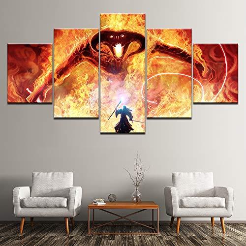 XLST 5 Paneles Gandalf Lucha El dragón Pintura Mural El Señor de los Anillos Balrog Película Imágenes para Sala de Estar Decoración
