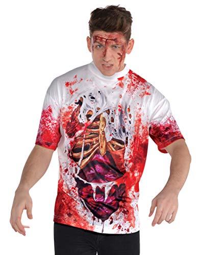 Amscan 846364-55 - Blutiges T-Shirt, 1 Stück, Größe XL, mehrfarbig, Oberteil mit Innereien-Motiv, für Halloween und Karneval, Horror, Zombie