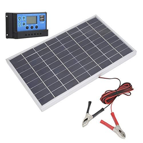 Mxzzand Cargador de batería Ligero Panel Solar Panel Solar policristalino Utilizado en Coches de Club para vehículos turísticos para Acampar(10A)