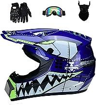 Senhill Motocross Helmet ATV Offroad Helmet DOT Helmet Unisex Dirt Bike Motorcycle Helmet with Gloves Goggles Mask (Blue, M)