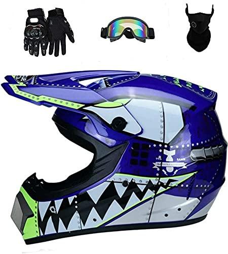 Senhill Motocross Helmet ATV Offroad Helmet DOT Helmet Unisex Dirt Bike Motorcycle Helmet with Gloves Goggles Mask (Blue, L)