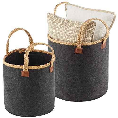 mDesign Juego de 2 cestas de Fieltro con Asas Trenzadas – Cesta Redonda para Guardar Ropa, sábanas, Juguetes y más – Organizador...