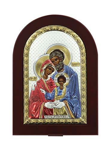Ferrari & Arrighetti Icona Sacra Famiglia Greca a Forma di Arco con lastra in Argento - 10 x 14 cm