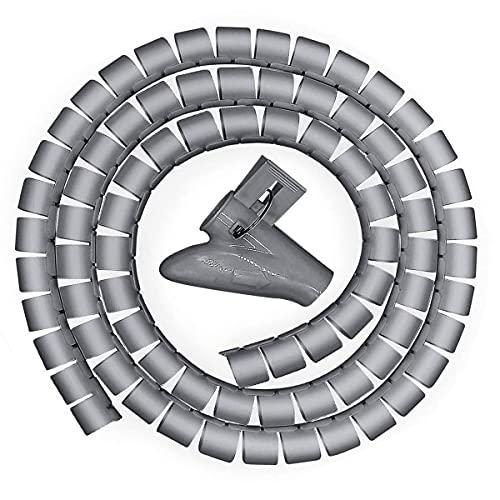Tubo de Gestión de Cables, 3M Tubo Flexible en Espiral Organizador, Alambre Tubo de Cable Espiral con Clip, para Cable en Casa u Oficina TV,Computadora(∅0.87')