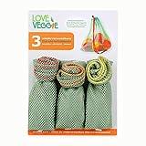 slowroom 520 3 bolsas reutilizables para frutas y verduras, bieg, ultraligeras, transpirables, poliéster, verde