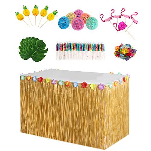 DTnewsun Décorations de fête hawaïennes, décorations de fête tropicales hawaïennes avec jupe de table Luau Herbe hawaïenne de 2,7 m, tortue, feuilles d'hibiscus et petit parapluie décoratif (jaune)