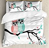 Ambesonne Teal and White Duvet Cover Set, Owl Couple Sitting on Tree Branch Valentines Romance Love, Decorative 3 Piece Bedding Set with 2 Pillow Shams, King Size, Turquoise Black