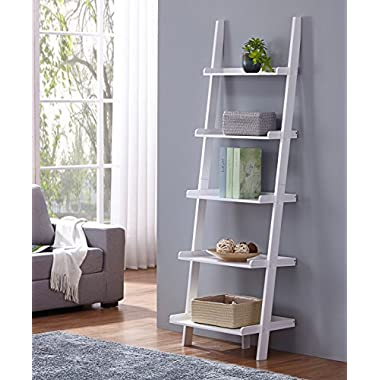 White Finish 5 Tier Bookcase Shelf Ladder Leaning - 72  Height