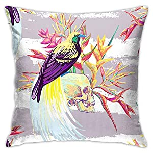 Osvbs Tropical Exotic Pattern with Bird of Paradise Skull Flowers Pillowcase Silk Personalized Double Sided 18 × 18 Inch for Sofa Bed (only Pillowcase, No Pillow)