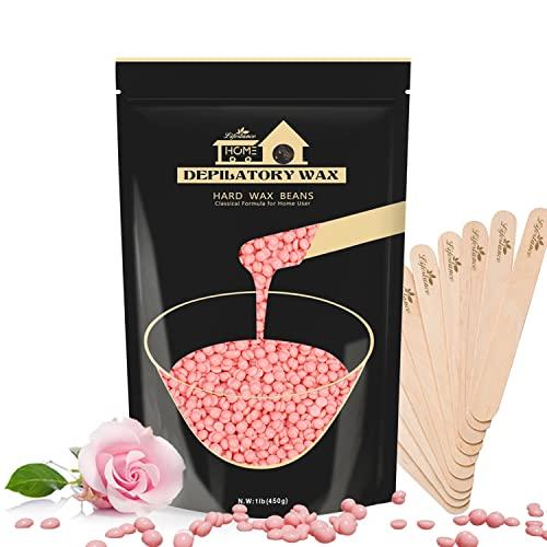 Lifestance 450g Wachsperlen, Waxing Perlen mit 10 Holzspatel für Enthaarung, Rose Wachs Haarentfernung für Brazilian Waxing Ganzkörper Intim ,Gesicht, Körper, Beine und Arme