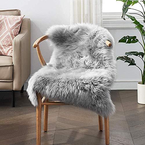 bedee – Alfombra de piel de cordero, gris, de pelo sintético, de pelo largo, de imitación de piel de cordero, 65 x 102 cm, alfombra de lana para sillas, sofá, sala de estar, decoración