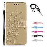 TOYYM Huawei P30 Case,Embossed Flower Premium PU Leather Flip Case Kickstand Credit Card Slot Holder TPU Bumper Folio Protective Cover Compatible with Huawei P30,Gold
