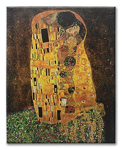 LuxHomeDecor Tableau Gustav Klimt Le Baiser The Kiss 120 x 60 cm 3 pi/èces 60 x 40 cm Impression sur Toile avec ch/âssis en Bois Art d/écoration