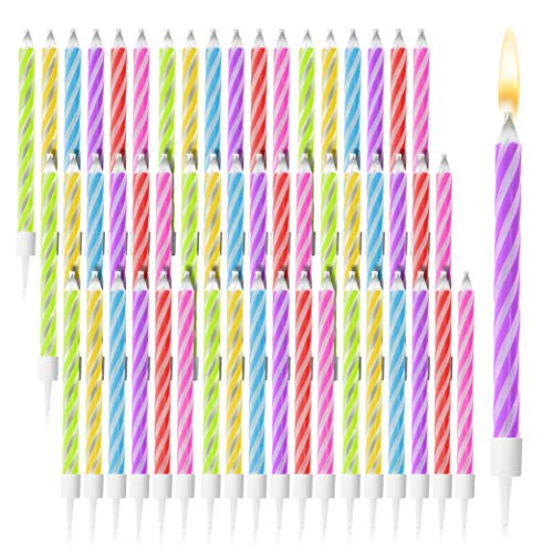 Magic Relighting Birthday Cake Candles in Holders (144 Pack)