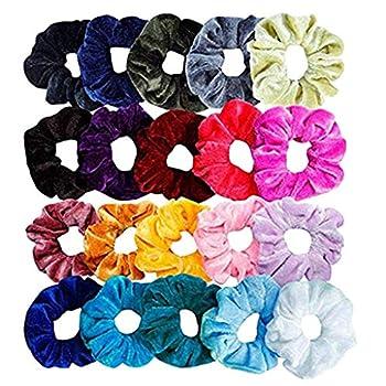 Iusun 20PCS Velvet Elastic Hair Bunch Colorful Hair Bands Ties Shrink Scrunchy Hair Ring Ropes Ponytail Holder