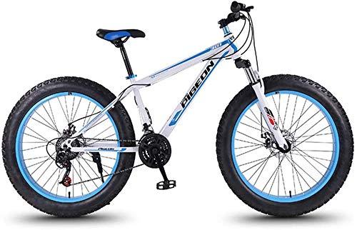 Nologo Bicicleta de montaña de 24 velocidades, bicicleta de montaña de 27.5 pulgadas con neumáticos de grasa de montaña, marco de acero de alto carbono, bicicleta de montaña todo terreno con