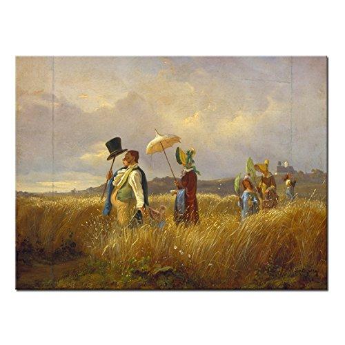 WANDKINGS Leinwandbild Der Sonntagsspaziergang von Carl Spitzweg / 40 x 30 cm/auf Keilrahmen