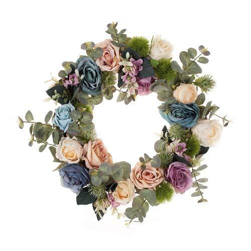LTWHOME Dmr 40cm Künstlicher handgemachter Kranz mit Rosen, Sukkulenten, Eukalyptus Blätter für Haus, Tür, Wand, Kaminsims, Fenster Decoration Model:WHBR