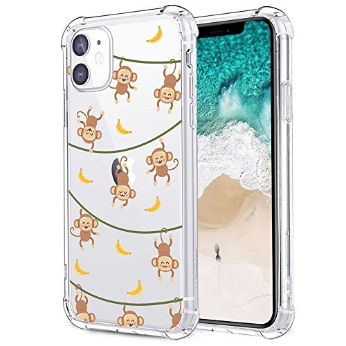 MAYCARI for iPhone 11 Case Monkey and Banana,Cute Animal Pattern Design Clear TPU Phone Cases Soft Flexiable Slim Protective Cases, Anti-Scratch Shock Absorbing