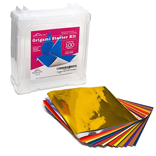 Origami Starter Kit: Japanese Origami Folding Paper Case Box Includes 100 Sheets in a 6 by 6-Inch Clear Storage Container for Craft Organization - Great for Quilting Charm Pack Storage