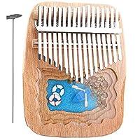 17鍵カリンバ樹脂ピアノ、子供大人のための指親指楽器、マイクロランドスケープピアノ、チューンハンマー付き、(17cm X 13cm) Wood colorB